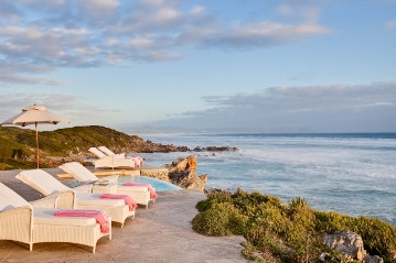 Birkenhead House sun deck right next to the ocean in Hermanus South Africa