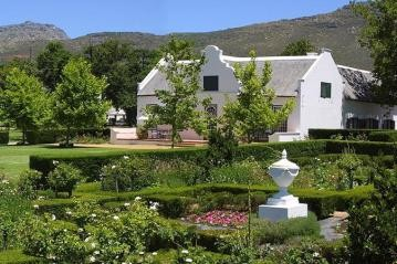 Beautiful historic Cape Dutch architecture at Steenberg Hotel in Cape Town South Africa