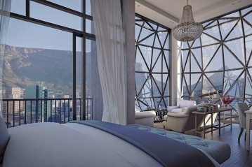 Bedrooms at The Silo hotel in Cape Town South Africa have glorious views of Table Mountain